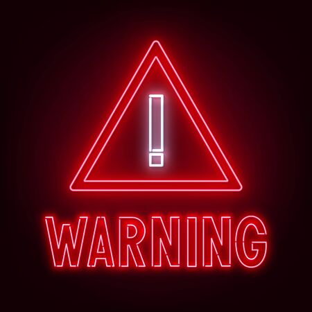 Warning neon sign on dark background . Stock Illustratie