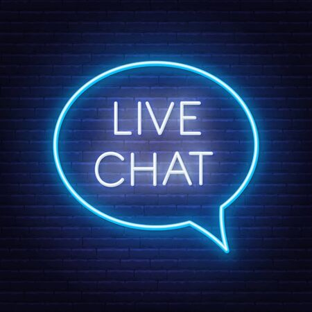 Live chat neon sign on the wall background. Stock Illustratie