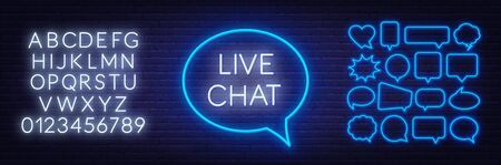 Live chat neon sign on dark background. Stock Illustratie