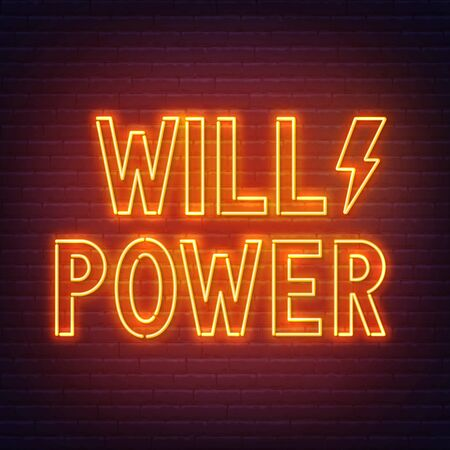 Will Power neon sign on dark background. Vector illustration.