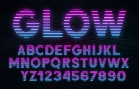 Striped glowing letters and numbers on dark background. Retro pink-blue front.