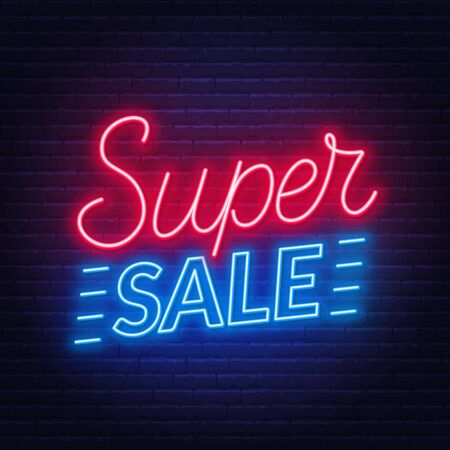 Super sale neon sign on dark background. Stock Illustratie