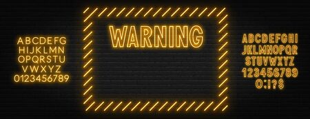 Warning neon sign on dark background. Template for design with fonts. Stock Illustratie
