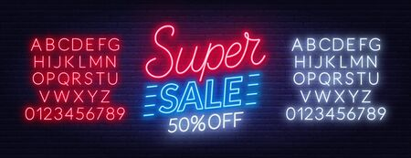 Super sale neon sign on dark background. Template for design. Stock Illustratie