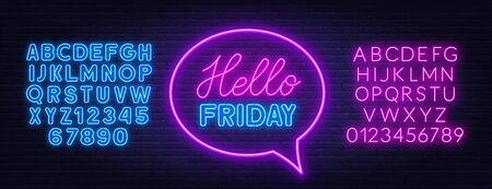 Hello Friday neon lettering on brick wall background.