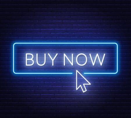 Buy now neon sign on dark background. Ilustracja