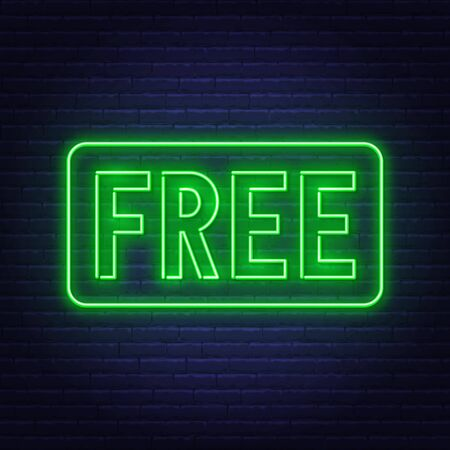 Free neon sign on dark background.