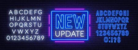 New update neon sign on dark background. Ilustracja