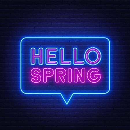 Hello Spring neon lettering on brick wall background . Ilustração