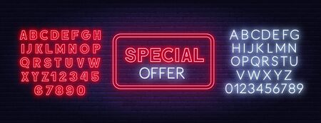 Special offer neon sign on brick wall background.