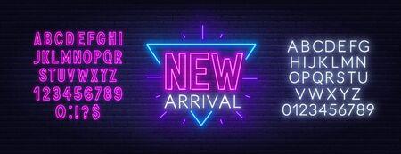 New arrival neon sign on dark background. Neon alphabet on brick wall background. Vector illustration.