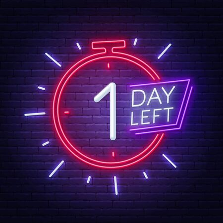 One day left neon sign on brick wall background. Vector illustration.