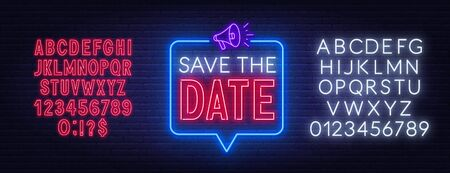 Save the date neon sign on brick wall background. Neon alphabet on brick wall background. Vector illustration.