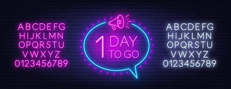 Number of days to go. Countdown template. Neon sign.