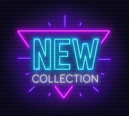New collection neon sign on brick wall background. Vector illustration.