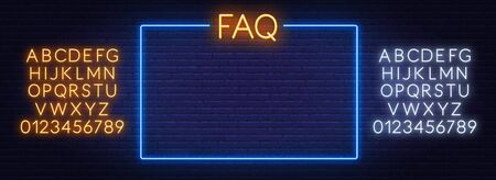 FAQ Frequently asked questions neon sign and the frame on the brick wall background. Template for design. Neon alphabet .