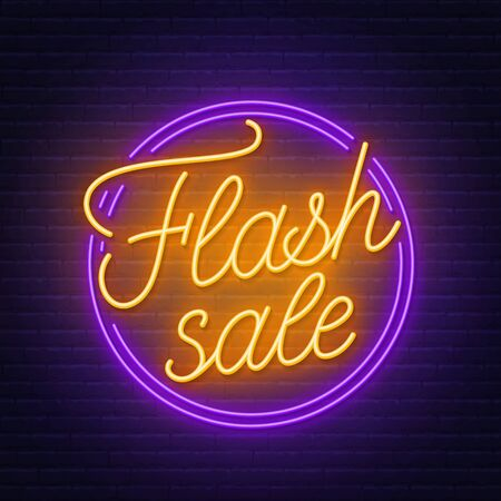 Flash sale neon sign on brick wall background .