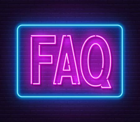 FAQ Frequently asked questions neon sign on brick wall background.