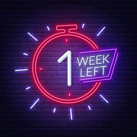 One week left neon sign on brick wall background.