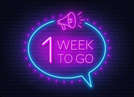 One week to go neon sign on brick wall background.