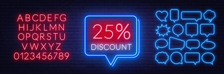 25 percent discount neon sign on brick wall background