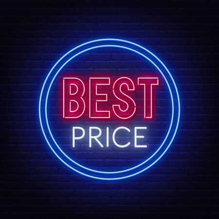 Best price neon sign on brick wall background.