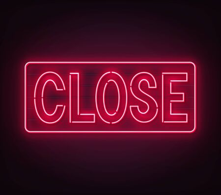 Close neon sign on black background.