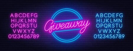 Neon sign giveaway on brick wall background.