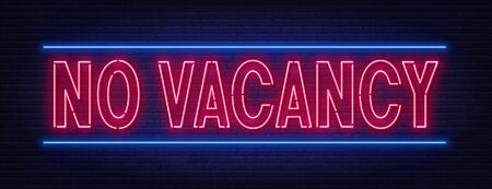 No vacancy neon sign on brick wall background. Ilustracja