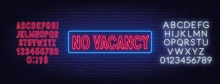 No vacancy neon sign. Neon alphabet on brick wall background. Vector illustration. Ilustracja