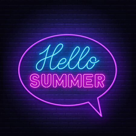 Hello summer neon lettering on brick wall background .