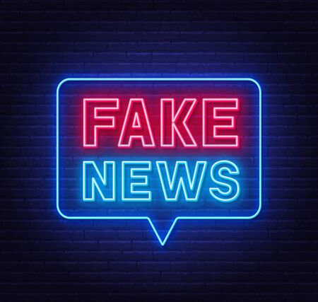 Neon fake news sign on brick wall background.