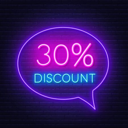 30 percent discount neon sign on brick wall background Ilustracja