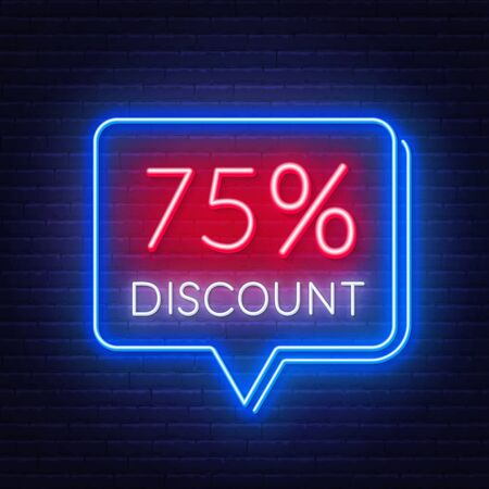 75 percent discount neon sign on brick wall background