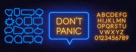 Don t panic neon sign on brick wall background.