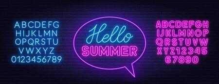 Hello summer neon lettering on brick wall background. Ilustracja