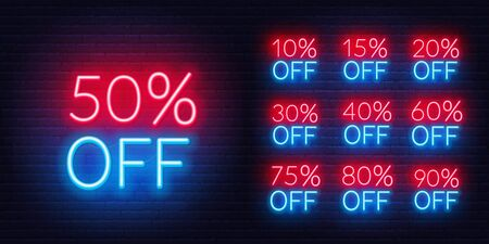 Neon discount template. Bright discount light signs on a dark background.