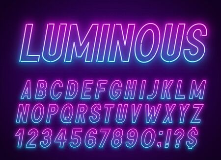 Neon blue pink font, light alphabet with numbers.