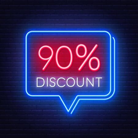 90 percent discount neon sign on brick wall background