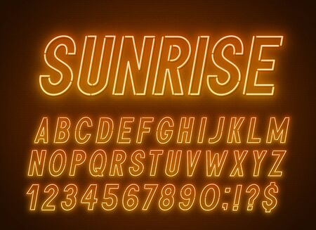 Neon orange yellow font, light alphabet with numbers on a dark background. Illustration