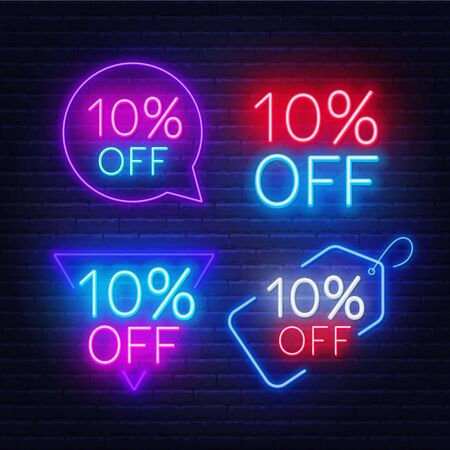 10 percent off set of neon signs on a dark background. Illustration