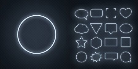 Circle, square, speech bubble, star, triangle, heart, hexagon and other glowing white neon frames on a dark transparent background. Illustration