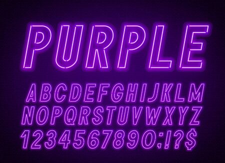 Neon purple font, light alphabet with numbers. Illustration