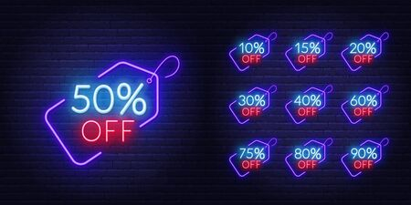 10, 15, 20, 30,40,50, 60, 75, 80, 90 percent off . Neon discount light signs on a dark background.
