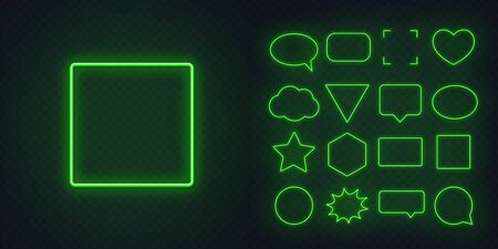 Circle, square, speech bubble, star, triangle, heart, hexagon and other glowing green neon frames on a dark transparent background. Illustration