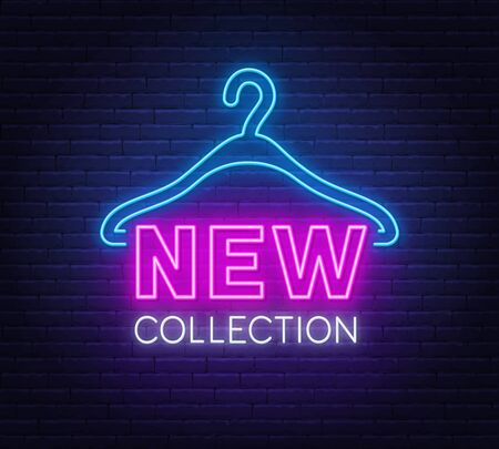 New collection neon sign on brick wall background.