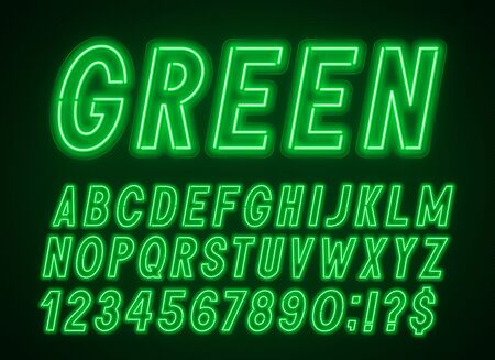 Green neon font, light alphabet with numbers.