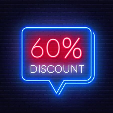 60 percent discount neon sign on brick wall background