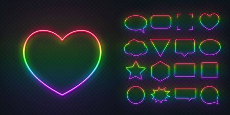 Neon frames painted in the colors of the LGBT community on a dark transparent background. Illustration