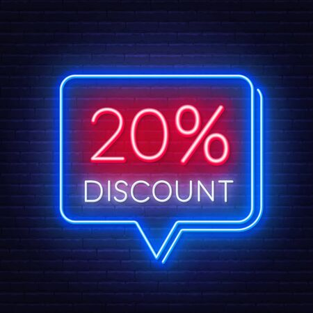 20 percent discount neon sign on brick wall background